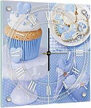 Delester Design Cupcakes Bleus Wanduhr, Glas, Mehrfarbig, 40 x 40 x 4 cm