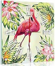 Delester Design Flamant Rose Wanduhr, Glas, Mehrfarbig, 40 x 40 x 4 cm