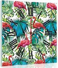 Delester Design Flamants Roses Sur Des Feuilles Wanduhr, Glas, Mehrfarbig, 40 x 40 x 4 cm