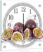 Delester Design Fruit De La Passion Wanduhr, Glas, Mehrfarbig, 40 x 40 x 4 cm