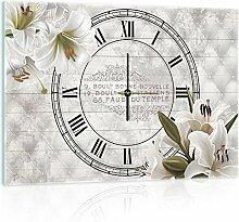 Delester Design Lis Blancs Wanduhr, Glas, Mehrfarbig, 60 x 40 x 4 cm