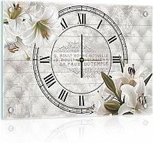 Delester Design Lys Élégant Wanduhr, Glas, Mehrfarbig, 60 x 40 x 4 cm