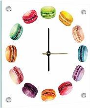 Delester Design Macarons Wanduhr, Glas, Mehrfarbig, 40 x 40 x 4 cm
