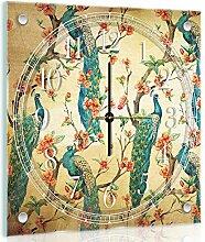Delester Design Paon Wanduhr, Glas, Mehrfarbig, 40 x 40 x 4 cm
