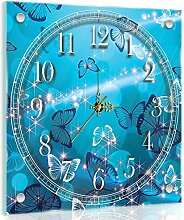 Delester Design Papillons Bleus Wanduhr, Glas, Mehrfarbig, 40 x 40 x 4 cm