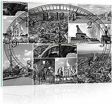 Delester Design Paris Monuments Wanduhr, Glas, Mehrfarbig, 60 x 40 x 4 cm