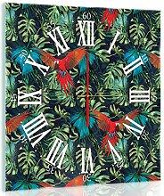 Delester Design Parrot Wanduhr, Glas, Mehrfarbig, 40 x 40 x 4 cm