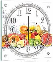 Delester Design Pile De Citrons Wanduhr, Glas, Mehrfarbig, 40 x 40 x 4 cm
