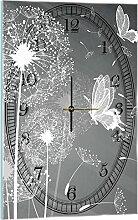 Delester Design Pissenlits Et Papillons Wanduhr, Glas, Mehrfarbig, 60 x 40 x 4 cm