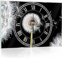 Delester Design Pissenlits Wanduhr, Glas, Mehrfarbig, 60 x 40 x 4 cm