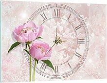 Delester Design Pivoine Rose Wanduhr, Glas, Mehrfarbig, 60 x 40 x 4 cm