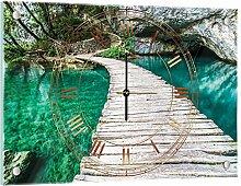 Delester Design Pont Sur l'Eau Turquoise Wanduhr, Glas, Mehrfarbig, 60 x 40 x 4 cm