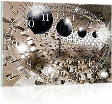 Delester Design Puzzle Effet 3D Avec Des Sphères Wanduhr, Glas, Mehrfarbig, 60 x 40 x 4 cm