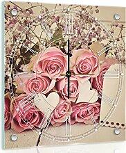Delester Design Roses Sur Fond En Bois Wanduhr, Glas, Mehrfarbig, 40 x 40 x 4 cm