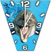 Delfin, Design Wanduhr aus Alu Dibond zum Aufhängen, 30 cm Durchmesser, schmale Zeiger, schöne und moderne Wand Dekoration, mit qualitativem Quartz Uhrwerk