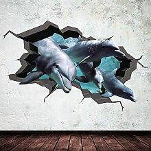 Delfin Unterwasser gebrochenen Cave Aquarium Fisch 3D Art Wand Aufkleber jungen Aufkleber Wandbild NEU 8