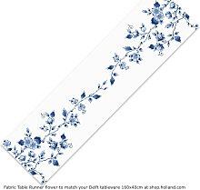 Delfter blau Tischläufer 160x40cm mit Blumen