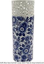 Delfter blau Zylinder Vase L - Blumen 24 cm