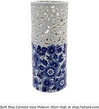Delfter blau Zylinder Vase M - Blumen 20 cm