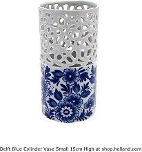Delfter blau Zylinder Vase S - Blumen 15 cm