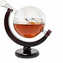 DELIBEST Globus Gläser Whisky Dekanter Set, Welt