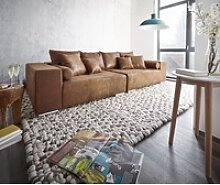 DELIFE Big-Sofa Marbeya, Braun 285x115 cm Antik