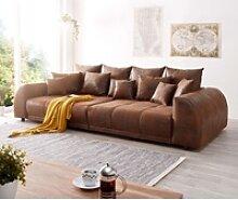 DELIFE Big-Sofa Violetta, Braun 310x135 cm Antik