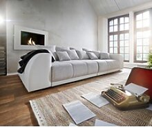 DELIFE Big-Sofa Violetta, Creme Hellgrau 310x135
