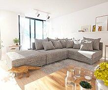 DELIFE Couch Clovis Modular - Ecksofa, Sofa, Wohnlandschaft & Modulsofa (Hellgrau, Ecksofa Rechts mit Hocker)
