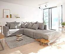 DELIFE Couch Clovis Modular - Ecksofa, Sofa, Wohnlandschaft & Modulsofa (Hellgrau, Ecksofa Links mit Hocker + Armlehne)