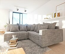 DELIFE Couch Clovis Modular - Ecksofa, Sofa, Wohnlandschaft & Modulsofa (Hellgrau, Ecksofa Rechts mit Armlehne)