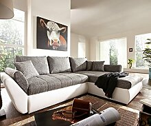 DELIFE Couch Loana Weiss Grau 275x185 cm