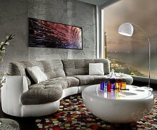 DELIFE Couch Napoli Hellgrau Weiss 300x95cm