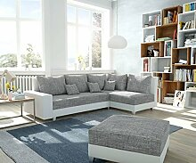 DELIFE Couch Panama Hellgrau Weiss Ottomane rechts