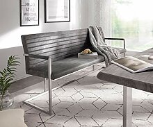 DELIFE Essbank Earnest Grau Vintage 200 cm mit