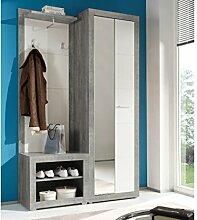 DELIFE Garderobe Shandor Weiss Hochglanz Grau
