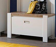 DELIFE Garderobenbank Medine 80 cm Weiss mit Einer