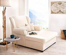 DELIFE Ohrensessel Lionardo Beige 120x160 cm Lounge Chair mit Kissen Sessel