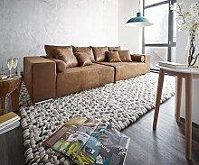 DELIFE XXL-Couch Marbeya Braun 285x115 cm Antik