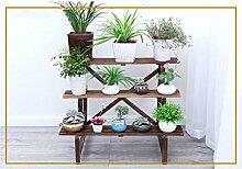 DELLT- Antistatische Holz Innenleiter Blumenständer Massivholz Balkon Mehrschicht - Holz Blumen Regal Multi - Blume Blumentopf Rack ( größe : 96*45*76cm )
