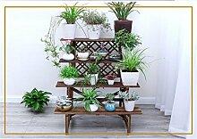DELLT- Antistatische Holz Innenleiter Blumenständer Massivholz Balkon Mehrschicht - Holz Blumen Regal Multi - Blume Blumentopf Rack ( größe : 96cm )