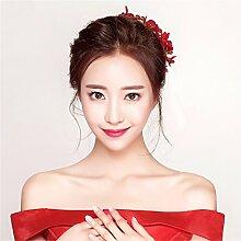 DELLT- Braut rote Kopfschmuck Korean Blume Haar Ornamente roten Hochzeit Zubehör Toast Wein Kleid Haarband Reifen