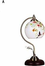 DELLT-Chinese Ehe Schlafzimmer Nachttischlampe kreative Lampe warmes Holz dekorative Glaslampe