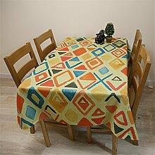 DELLT- Europäische - Style Tischdecke Chinesischer Garten Blumen Runde Tisch Tisch Tischdecken Baumwolle Leinen Tetabellentuch Tischdecke Druck Tischdecken ( größe : 140*140 Cm )