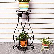 DELLT- European-style Eisen-Blumen-Regalboden Mehrgeschossiges im Freien-Außen-Balkon-Wohnzimmer-Chlorophytum-Grün-Blumen-Blumen-Topf-Regal-Regal ( Farbe : Schwarz , größe : 26*21*66cm )