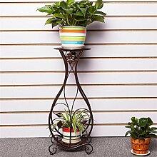 DELLT- European-style Eisen-Blumen-Regalboden Mehrgeschossiges im Freien-Außen-Balkon-Wohnzimmer-Chlorophytum-Grün-Blumen-Blumen-Topf-Regal-Regal ( Farbe : Bronze , größe : 26*21*66cm )