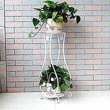 DELLT- European-style Eisen-Blumen-Regalboden Mehrgeschossiges im Freien-Außen-Balkon-Wohnzimmer-Chlorophytum-Grün-Blumen-Blumen-Topf-Regal-Regal ( Farbe : Weiß , größe : 26*21*66cm )