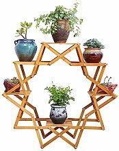 DELLT- Kreatives Holz Balkon Blumenregal / Wohnzimmer Indoor Blumentopf Pflanze Rack / Europäische Holzboden Regal