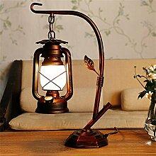 DELLT UK-Chinesische Laterne altmodische Petroleumlampe Schlafzimmer Nachttischlampe mit einem Retro-amerikanischen Studie Tischlampe