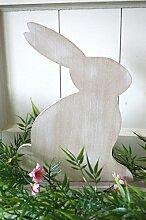Delo Hase aus Holz Osterhase weiß creme natur Osterdeko Türdeko Tischdeko Fensterdeko Garten-Deko Shabby Deko ca.29cm